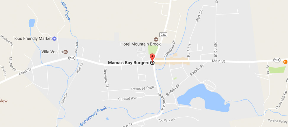 Map to Mama's Boy Burgers
